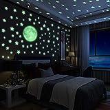 Yosemy Luminoso Pegatinas de Pared Luna y Estrellas, Fluorescente Decoración de Pared para Dormitorio de Niños, DIY Decoración de la Habitación para Chico Niña Bebé, Casa Interior Mural, 222 Pzas