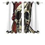 Bonitas cortinas con calavera pirata y pañuelo de...