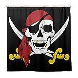 N/E Funny Pirate Skull Cortina de ducha, resistente al agua, tela de poliéster y accesorios de cortina de baño, 12 ganchos de 182 x 183 cm para decoración del hogar