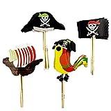XUNKE 48 Piezas Piratas Pastel Topper Cupcake Picks Kuchendeko para niños Ducha de Bebé Fiesta de Cumpleaños DIY Decoración Suministros