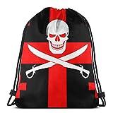 fgjfdjj Bandera Pirata Negra Jolly Roger con alfanjes Combinados con los Colores de la Bandera de Georgia Mochila para Mujer Linda, Mochila con Cuerdas, Plegable