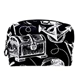 TIZORAX Bolso de maquillaje pirata dibujado a mano para mujeres cuidado de la piel cosmético práctico bolsa cremallera bolso