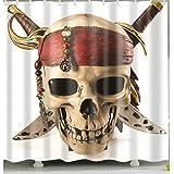 gwregdfbcv Cortina de Ducha Pirate-Skull para el hogar y el baño Cortina de Ducha Accesorios de Tela duraderos creativos con 12 Ganchos 180X180CM