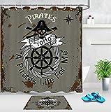 Fvfbd Cortinas de Ducha Banner de Barco Pirata impresión Cortinas de baño Antimoho, Lavable, Impermeable y Opaco con y 12 Anillas-180 x 200cm