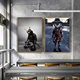 agwKE2 Carteles e Impresiones de Armadura de Espada samurái Japonesa, Pintura en Lienzo, Cuadros artísticos de Pared para la decoración del hogar de la Sala de Estar / 50x70cmx2 (sin Marco)
