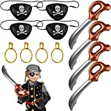 PERFETSELL Juego de 12 Accesorios para Disfraz de Pirata Sabres de Pirate Inflable Juguete 57 cm Parche de Ojo de Pirata Pendientes Pirata Artículos para Fiesta Cumpleaños Infantil Carnaval Regalo