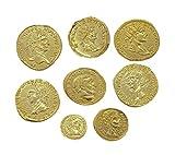 Eurofusioni Monedas Antiguas Romanas chapada de Oro - Set 8 Piezas