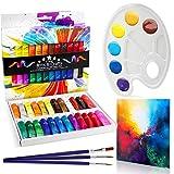Juego de pintura acrílica de 29 piezas, incluye 24 colores vibrantes de pintura, 3 Pinceles, 1 Paleta y 1 Lienzo de Pintura.
