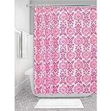 InterDesign Damask Cortina de ducha | Excelente cortina de baño con ojales metálicos | Cortinas estampadas de diseño adamascado, 183 cm x 183 cm | Poliéster rosa fucsia