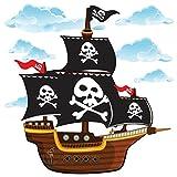 GET STICKING DECOR Barco Pirata Pegatinas De Pared/ Calcomanías Colección, CartoonShip Pship3, Vinilo Removible Brillante, Multi Color. (Large)