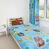 Zappi Co | Pirata Diseño Reversible Niño Edredón Cama de 135cm x 200cm, Edredón Individual | Diversión Niños Niña Pequeño Juego con a Funda de Almohada