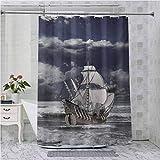 Aishare Store - Cortinas de ducha, diseño de piratas del Caribe, color azul y gris pálido