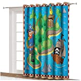 Cortinas opacas anchas con diseño de mapa de la isla con un barco pirata y loro para niños sala de juegos térmica, panel individual de 203 x 274 cm, para decoración del hogar