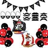 Set de decoración para fiestas de cumpleaños infantiles, color rojo y negro, 39 unidades, globos de látex rojo y negro, globos de látex para fiestas piratas del Caribe