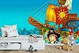 Fotomural Vinilo Pared Barco Pirata | Fotomural para Paredes | Mural | Vinilo Decorativo | Varias Medidas 150 x 100 cm | Decoración comedores, Salones, Habitaciones.