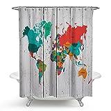 KISY Art World Map - Cortina de ducha impermeable...