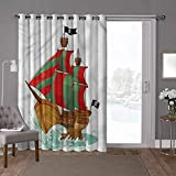 YUAZHOQI - Cortina para puerta corredera de patio, pirata, diseño de dibujos animados, 100 x 84 pulgadas de ancho, persiana opaca para sala de estar (1 panel)