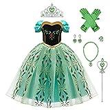 OBEEII Disfraz Anna Niña Princesa Reinas de Nieve 2 Cosplay Carnaval Vestido Disfraces de Fiesta Ceremonia Navidad Fancy Dress up Costume para Chicas