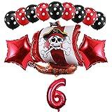Haosell - Globo de 6 años para decoración de cumpleaños infantil, diseño de piratas
