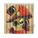 JEOLVP Decoración del hogar Cortina de baño Pirata Día del cráneo Muerto Tejido de poliéster Impermeable Cortina de Ducha para baño, 72 x 72 Pulgadas Cortinas de Ducha Ganchos incluidos
