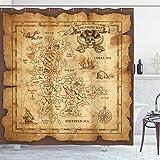 ABAKUHAUS Mapa de la Isla Cortina de Baño, Papel Viejo Mapa del Tesoro, Material Resistente al Agua Durable Estampa Digital, 175 x 200 cm, Beige Brown