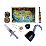 Conjunto de Accesorios para Disfraz de Pirata Infantil-Gancho Daga Parche para Ojo Mapa del Tesoro Telescopio Brújula Medallón de Oro