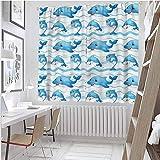 Cortinas opacas con bolsillo para barra, animales marinos, divertidos personajes del océano, 2014 cm de longitud para sala de estar (2 paneles)