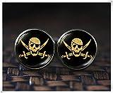 no see long time Gemelos Piratas, Calavera y Espadas, Gemelos de Calavera, Gemelos de Bandera Pirata, joyería de Calavera Pirata