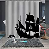 FGHJK Halloween, Fondo Gris, Barco Pirata de la Muerte Cortina de baño decoración baño 12 Ganchos