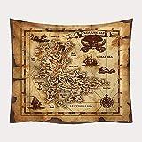 Tapiz De Pared Tapestry Wall Hanging, Mapa del Mundo Tapices De Pared Tesoro Pirata, Moda Novedad Decoración Art Tejido Estampado para Dormitorio Salón