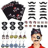 FORMIZON 48 Piezas Fiesta Pirata Accesorios, Pirata Accesorios, Bandera Pirata Capitán Traje Set, Fake Bigote para Niños Cosplay Partido Fiesta Accesorio