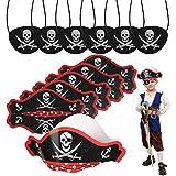 CHIFOOM Accesorios para Niños Piratas 6pcs Tarjetas de Sombrero Pirata y 6pcs Máscaras de Ojos Piratas para Tema Pirata Fiesta de Cumpleaños a Niños Maquillaje Fiesta Accesorios de Fotos