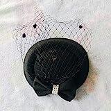 HOSD - Visillo bordado de algodón y fieltro, para cóctel o cóctel Negro Talla única