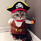 Idepet Pirata del Caribe Disfraz de Gato Funny Dog Ropa para Mascotas Traje Corsair Viste a la Fiesta Ropa de Fiesta para Perros Gato Plus Sombrero (M)