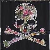 /N Calaveras Piratas y Tibias Cruzadas en Forma de Flores. Cortina de Ducha HD Impermeable y ecológica