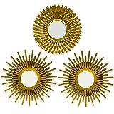 BONNYCO Espejos Pared Decorativos Dorados Pack 3...