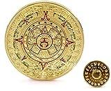 Calendario Maya Azteca Recuerdo 24k chapado en oro...