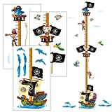 Gráficos de Crecimiento Niños AirSmall Etiqueta Engomada Personalizada de Tabla de Crecimiento de Piratas, Pegatinas de Pared de Medición Pirata Decoración Colorida de Pared para Medidas de Altura
