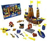 VENTURA TRADING Barco Pirata Barco Pirata de Juguete Set de Juego de Barco Pirata Treasure PlaySet con la Figura Juguete Pirata Bote de Juguete