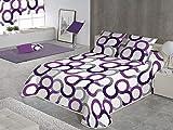 SABANALIA - Colcha Aros (Disponible en Varios tamaños y Colores), Cama 90-180 x 280, Color Lila