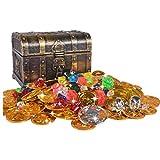 mengger Monedas de Juguete Pirata de Halloween Moneda Fiesta Piratas Plástico del Tesoro Oro para la Caza Juego Decoración Partido Regalo Cofre del Tesoro