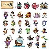 Matogle 24pcs Tatuaje Temporal para Niños Falso Pirata Pegatinas para Cara Brazo Mano Pegatinas de Disfraz para Fiestas Temática sobre Piratas Cumpleaños Fiestas de Niños 242 Patrones