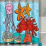N\A Cortina de Ducha de Playa Dibujos Animados Personajes de Animales Marinos Vida Marina Personajes de Animales de Dibujos Animados Tela Brillante Decoración de baño