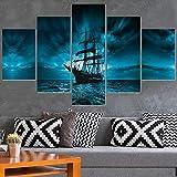 WYXYD 5 lona Dibujar Marco de madera Imagen modular HD Impreso Pintura moderna Arte de la pared 5 Panel Barco pirata Decoración del hogar Carteles Sala de estar en lienzo Poster Wall Art Canvas Painti