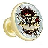 Pirate Skull Blue Botones de tocador Perillas de...