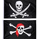2 Piezas de Bandera de Pirata Bandera de Cráneo Jolly Roger para Fiesta de Pirata, Regalo de Cumpleaños, Día de Pirata, Decoración de Halloween, Regalo de Navidad, 3 por 5 Pies