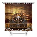 SHUHUI Juego de Cortina de Ducha para Volante de Pirata con Calaveras, Tela Impermeable de 183 x 183 cm