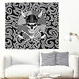 Tapiz de pared con bandera pirata vikinga, psicodélica, hippie Wall Hanging, decoración de pared, tapiz indio, toalla de playa, toalla de picnic, color blanco 3 150 x 130 cm