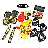 mciskin Artículos de fiesta pirata y paquete de juguetes de favor de pirata,Kit completo de 60 piezas con cofres del tesoro piratas temáticos