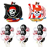 Baipin Globos de Fiesta Pirata, 12 Pulgadas Globos Rojos y Negros de Látex Globo de Película de Aluminio para Suministros de Fiesta Pirata decoración de la Fiesta de cumpleaños Infantil